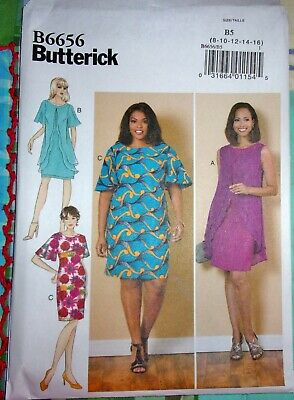 Butterick 6656 Fitted Sheath Dress w/ Overlay Drape Cape Capelet Sleeves 8-16 FF