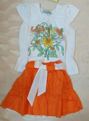 Girls Pretty Matching Skirt & Top Set White/Orange - Age 2 years, Height 86 cm
