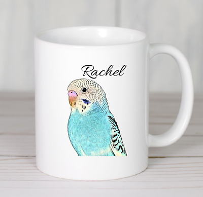 Budgie drawing mug bird personalised novelty ceramic ideal gift any name printed