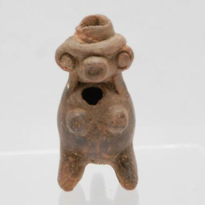 "PRE COLUMBIAN Mayan Whistle_Figural Terracotta Clay_Musical Wind Instrument_2"" h"