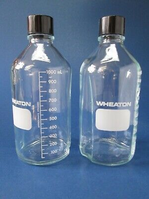 Lab Ware Graduated Glass Media Bottles  Two Jugs Wheaton Brand New