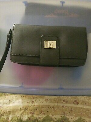 Black Secretary Wallet . ID Holder.Travel Organizer. Multi Pocket Zipper Bifold.