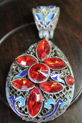 China Decor Miao Silver Inlay Seven Red Beads Carved Butterfly Exquisite Pendant