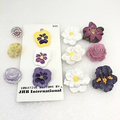 Vintage Flower Buttons Plastic Molded Pansy Realistic JHB Carded Hand Painted