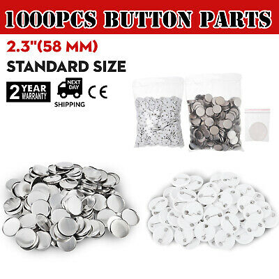 1000Pcs 58mm Button for Badge Maker Machine Clip Pin Plastic cover Top/Bottom