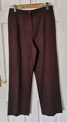 Bnwt Eastex Dark Red Burgundy Maroon Wool Mix Wide Tailored Trousers Pockets 14
