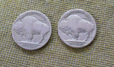 #C44. Two Usa Buffalo Nickels For Jewellery / Craft