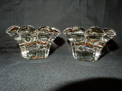 Heisey Crystolite 2 in. Rosette Candleblocks, Pair, Crystal, Perfect Condition