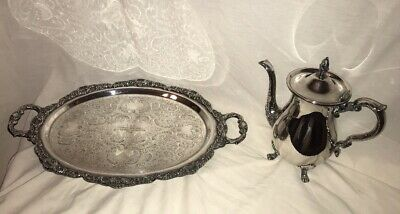 Vintage EPCA Bristol Poole Silverplate Footed Ornate Tray & Pitcher TROPHY SET