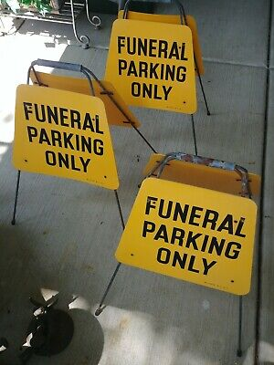 Funeral parking only 2 Sided Sidewalk  Road funeral casket mortuary vintage (3)