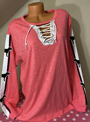 Victorias Secret PINK NWT GRAPHIC LACE UP FRONT LONG SLEEVE TSHIRT LARGE