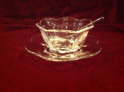 Vintage Duncan Miller Caterbury Crystal Mayonaise Bowl And Plate