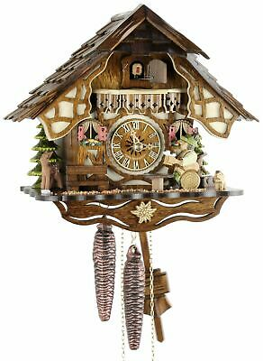 Timbered House Beer Drinkers 24cm- Cuckoo Clock Original Black Forest