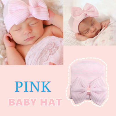 Soft Baby Girl Boy Infant Pink Striped Hat With Bow Cap Newborn Beanie Diomand