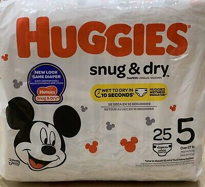 HUGGIES Snug & Dry Diapers, Size 5 ( 25 Count ) New & Sealed Ready To Ship