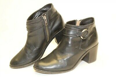 Frye Janis 3474176 Womens 6.5 B Black Leather Ankle Side Zip Dress Casual Boots