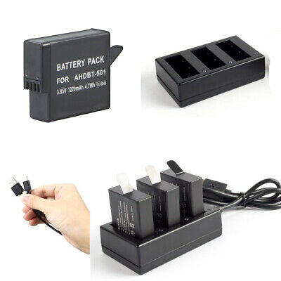 3X 1220mAH Replacement Li-Ion Battery + Charger for Gopro HERO 5 6 7 AHDBT-501