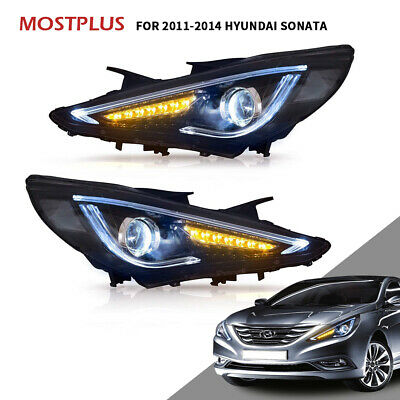 Front Pair LED Projector Headlights For 2011-2014 Hyundai Sonata Audi Look Style