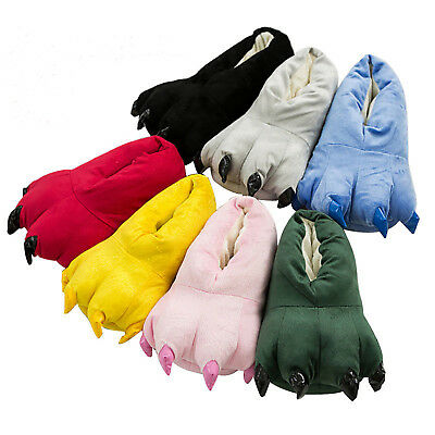 Womens Mens Animal Monster Feet Slippers Claw Pajama Part Paw Plush Funny Shoes