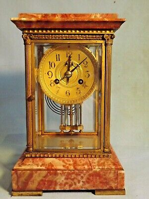 "Superb Small Red Marble/Ormolu 4 Glass Clock ""Vincenti"" C1890."