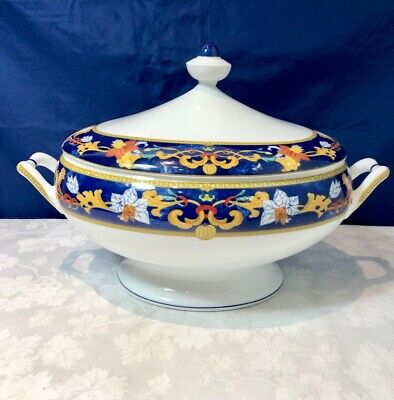 Bernardaud Limoges Porcelain Roma Bleu Soup Tureen Soupiere NEW IN BOX
