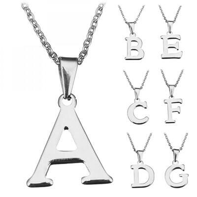 """Stainless Steel Silver Letter A-Z Jewelry Necklace Pendant W/ Extender Chain 18"""""""