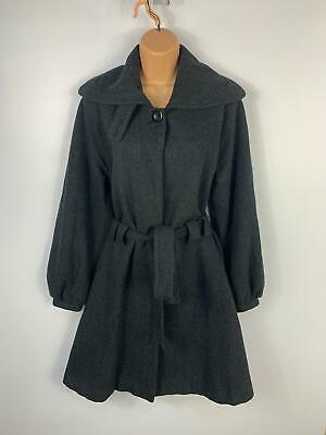 Womens Miso Black/Grey Pattern Double Breast Casual Jacket Trench Coat Size 10