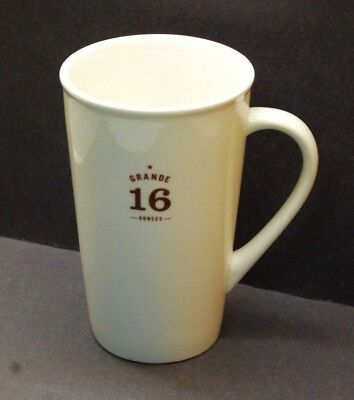 STARBUCKS 16oz GRANDE WHITE TALL COFFEE MUG BROWN LETTERING 2010