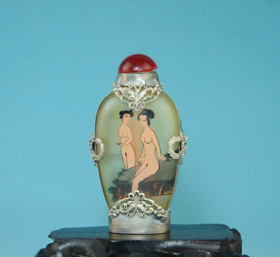 Chinese Old Tibetan Silver inlay Glass Ancient Belle Girl snuff bottle Ca01J