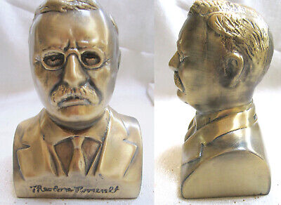 "President Theodore ""Teddy"" Roosevelt 5"" tall Satin Brass bust bookend USA"