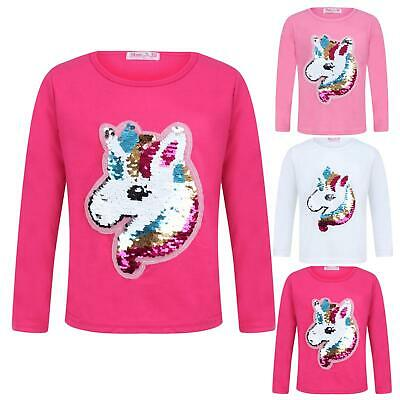 Girls Unicorn Tops Brush Changing Sequin Tee Top Emoji Emoticons Face Kids New