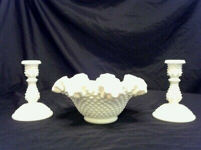 Antique White Milk Glass Ruffled Top Hobnail Bowl & Matching Candle Holders Mint