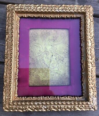 Old Vintage Early To Mid 20th Century Antique Gold Ornate Frame With Silk Border