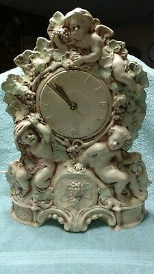 Vtg Eley Ornate Electric clock Mantel Wall Ceramics Angels Cherubs Grapes works