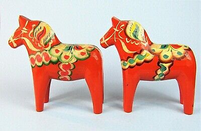 """TWO LARGE 7"""" SWEDISH DALA HORSES VINTAGE HAND PAINTED HAND CARVED w/ LABELS"""
