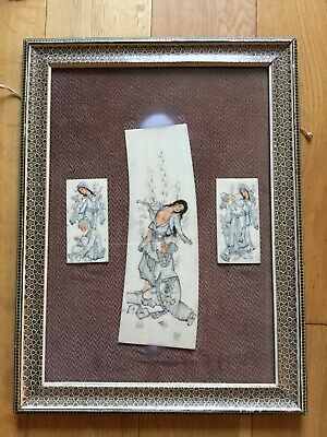 Old Vintage Middle Eastern Islamic Signed Miniature Paintings Framed