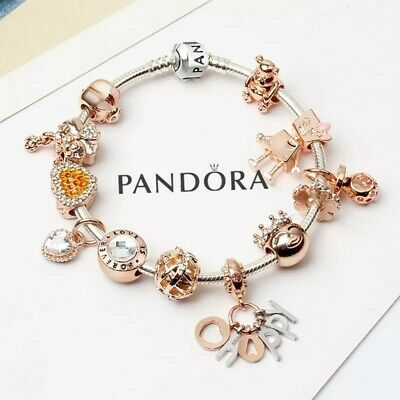 Authentic PANDORA CHARM Bracelet Silver with Rose Gold Happy European Charms New
