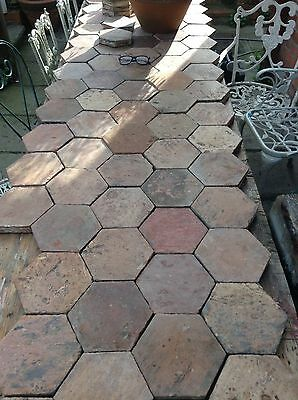 Antique French Reclaimed Terracotta Hexagonal Tomette Floor Tiles