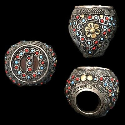 Rare Top Quality Silver Post Medieval Bedouin Ring (6)