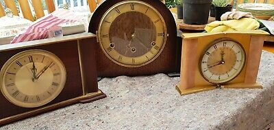 3 Vintage clocks 1 Westminster chime mantle clock all British movement