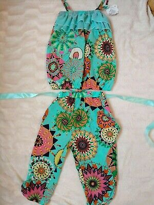 Superb girls matching trousers and top set Green/multi - Age 6/7 years