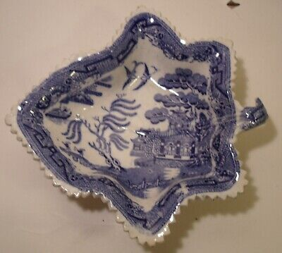 Antique Blue And White Transfer Ware Leaf Pickle Dish (8)