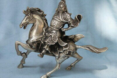Handmade Miao Silver Carving Guan Gong Rode Fine Horse Exquisite Lucky Statue