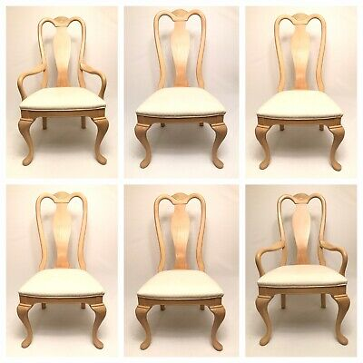BERNHARDT FURNITURE CHAIRS Queen Anne Dining Room Table Side Chair Set USA Wood