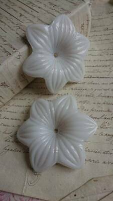 2 SWEET ANTIQUE FRENCH OPALINE CANDLESTICK BOUGEOIR FLOWERS c1890