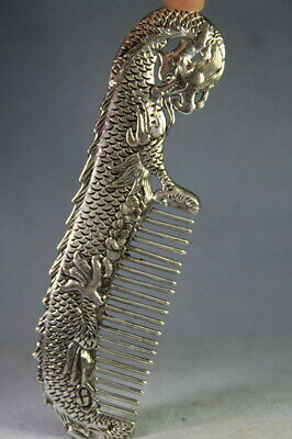 Collectable Handmade Decor Miao Silver Carving Dragon & Flowers Exquisite Comb