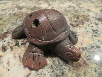 Aztec Myan Whistle Handmade Item Mexican Clay Art TURTLE