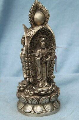 Collect Exquisite Handmade Miao Silver Carving Three Sides Buddhism Lucky Statue