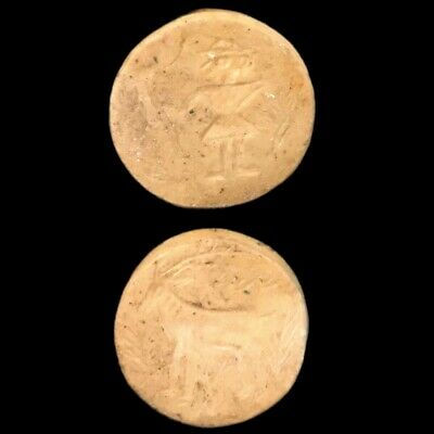INDUS VALLEY STONE DOUBLE SIDED SEAL, RARE ANCIENT ARTIFACT, 3rd Millennium BC