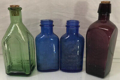 "Lot of 4 - 6.5"" Authentic Vintage Apothecary Medicine Jars Colored Glass Stamped"